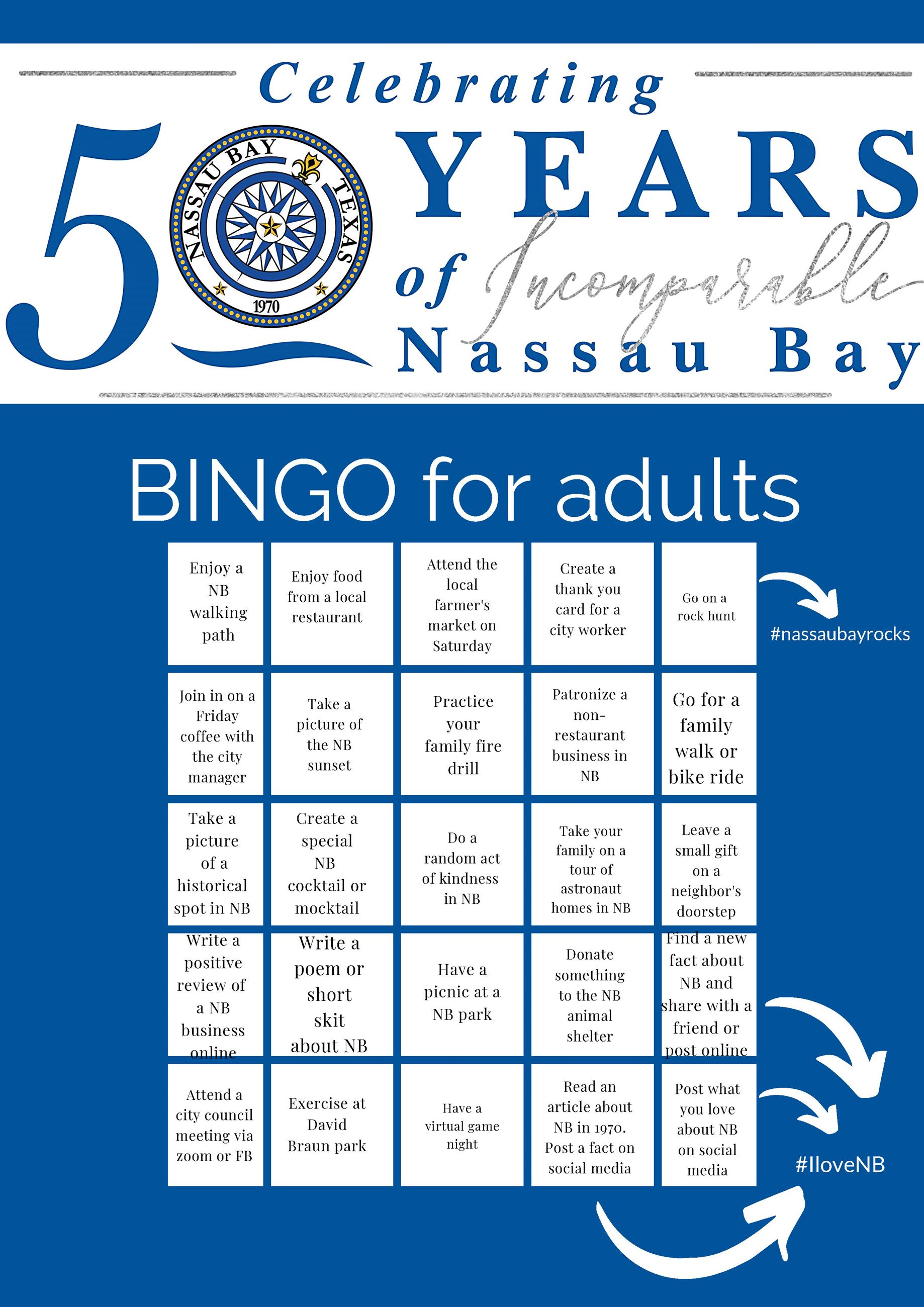 Nassau Bay 50th Bingo ADULTS Opens in new window