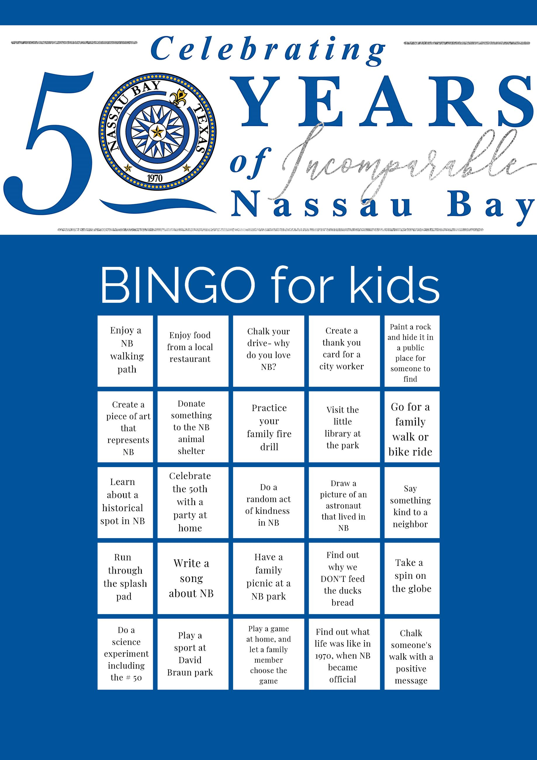 Nassau Bay 50th Bingo KIDS Opens in new window