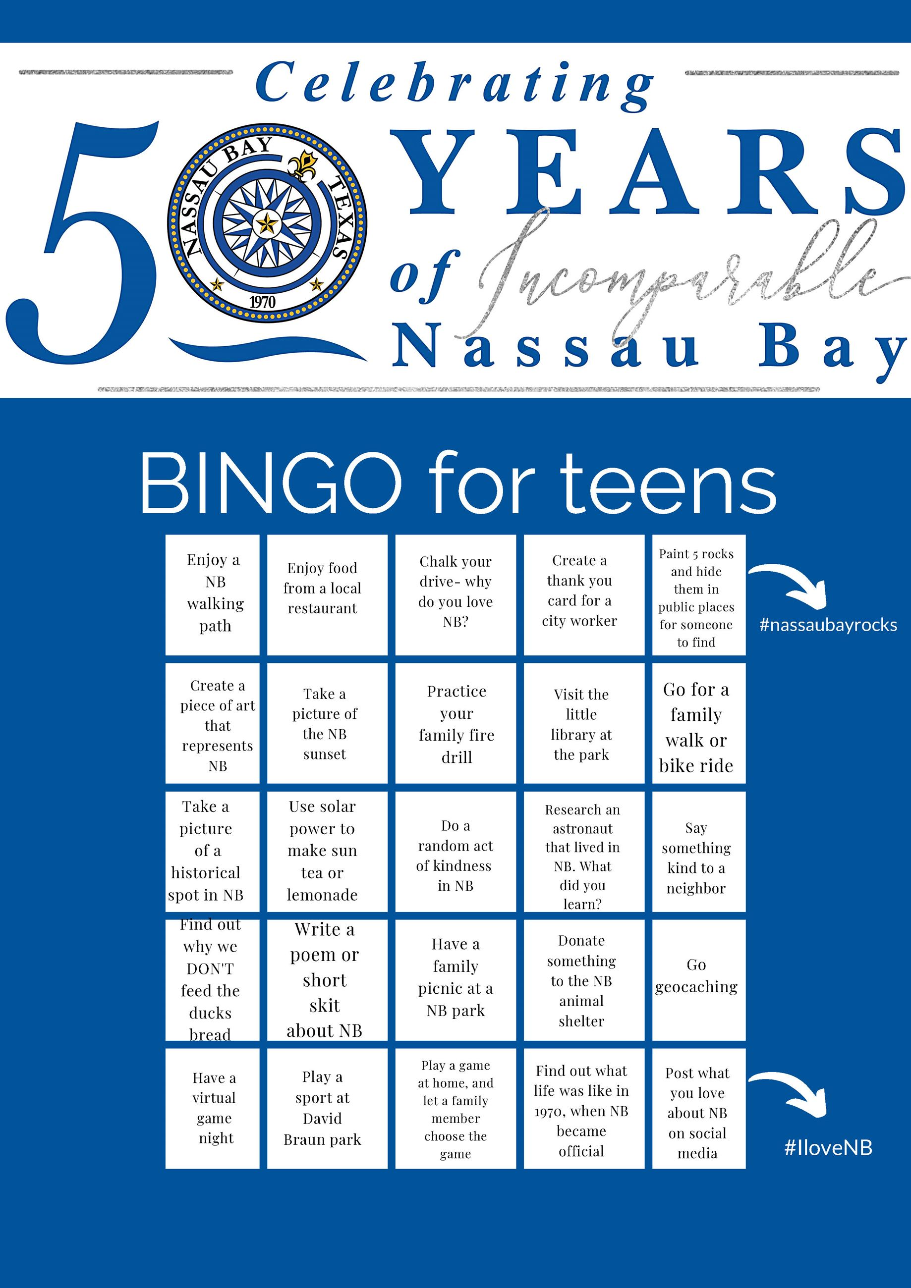 Nassau Bay 50th Bingo TEENS Opens in new window